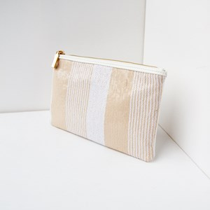 Panelled Mini Sequin Stripes Zip Top Rectangle Clutch