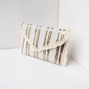 Fringe Edge Stripe Sequin Envelope Clutch