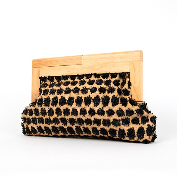 Raffia Spot Timber Frame Clutch