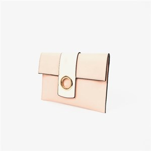 Two Tone Metal Ring Flapover Clutch