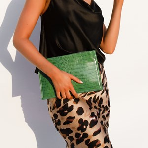 Reptile Faux Suede Back Zip Top Pouch