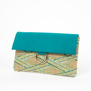 Woven Faux  Suede Fold Over Metal Ring Clutch