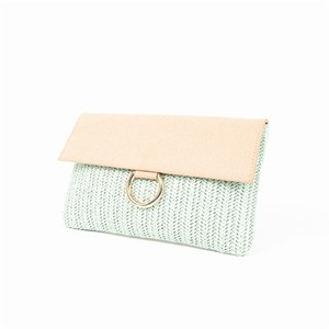 Open Weave Faux  Suede Fold Over Metal Ring Clutch
