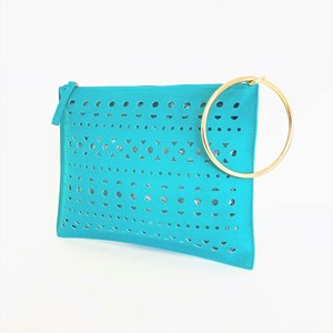 Ring Handle Cut Out Zip Top Clutch