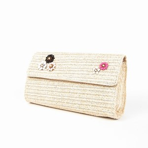 Flower Faux Weave Curved Fold Over Clutch
