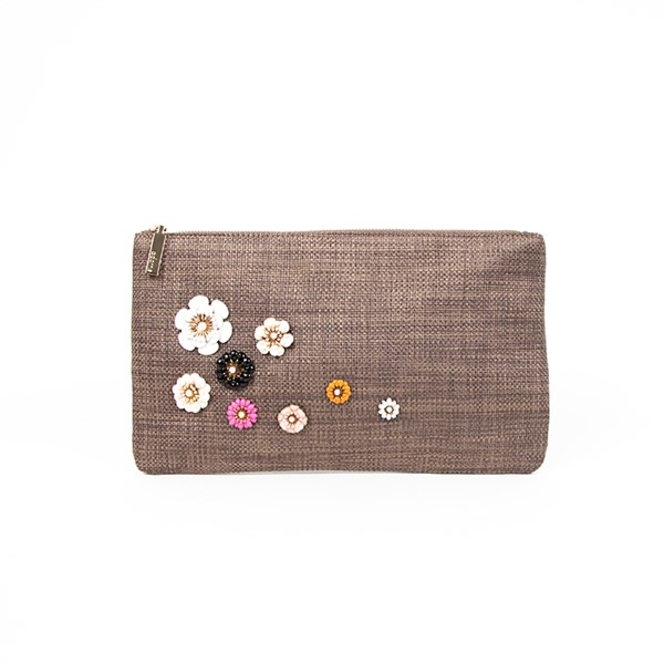 Flower Faux Weave Zip Top Clutch