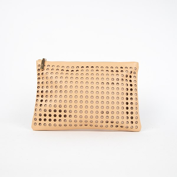 Octagonal Circle Cut Out Zip Top Clutch