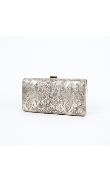 Snake Rectangle Hard Case Clutch