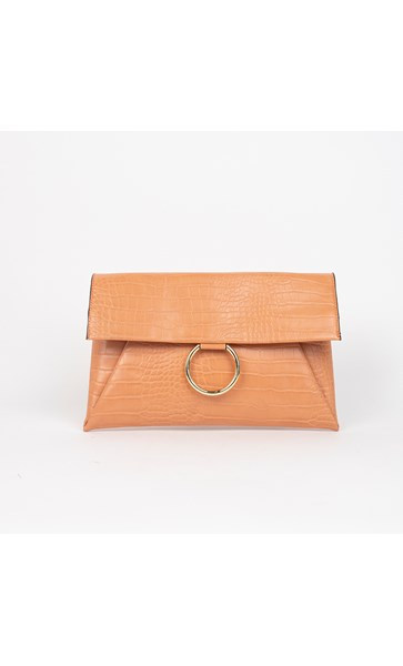 Croc Fold Over Ring Detail Clutch