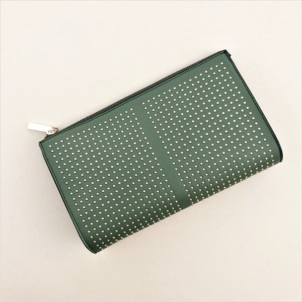 Studded Front Curved Zip Top Clutch