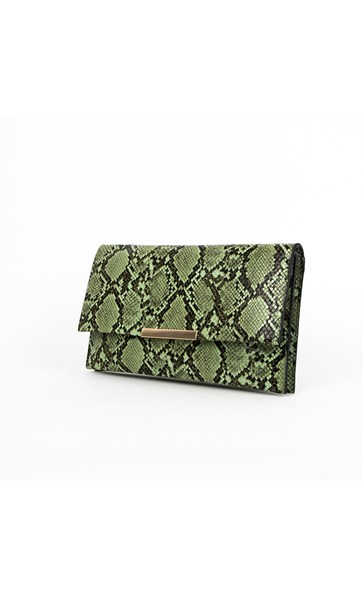 Clutches-Snake Double Compartment Fold Over Clutch - Adorne