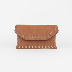 Mini Stud Edge Fold Over Suede Clutch