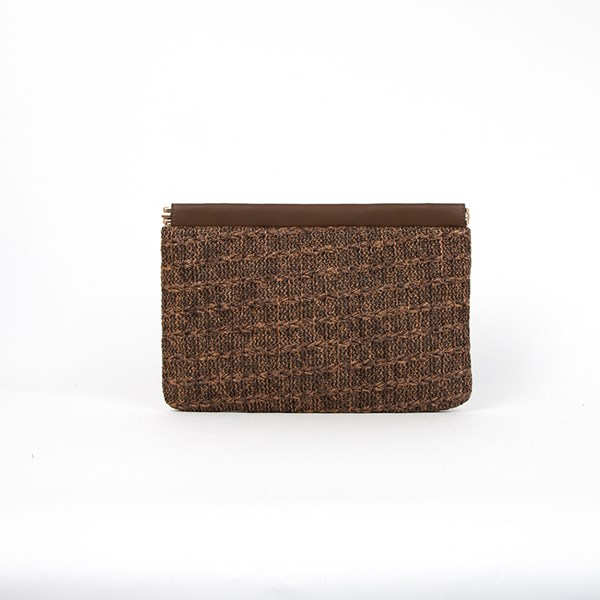 Frame Top Quilted Weave Clutch