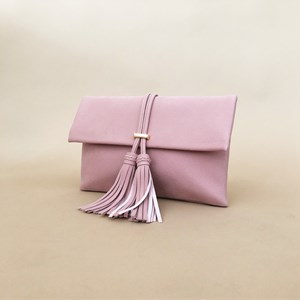 Double Tassel Fold Over Vegan Suede Clutch