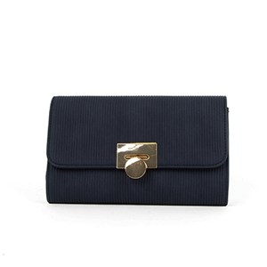 Mini Ribbed Metal Clasp Fold Over Clutch