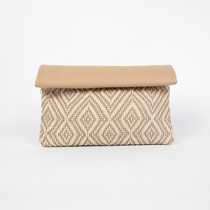 Two Tone Diamond Weave Clutch