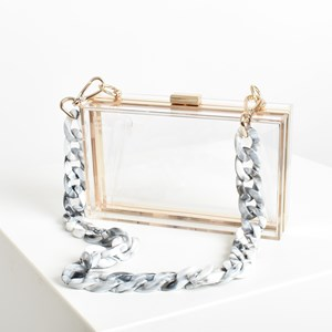 Polyester Girl Clear Structured & Chain Resin Clutch