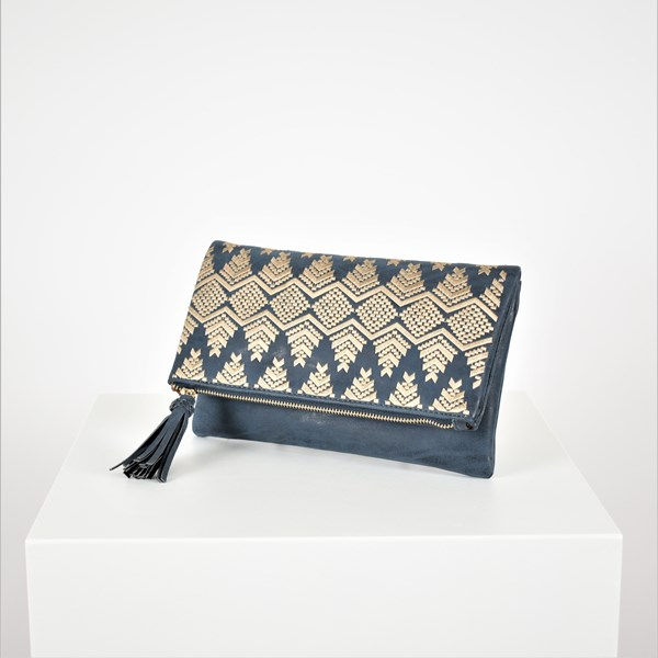 Arrow Stitch Tassel Fold Over Clutch