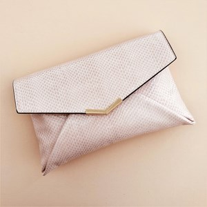 Faux Reptile Metal V Small Envelope Clutch