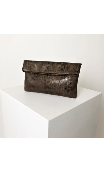 Faux Suede Reptile Flap Over Clutch