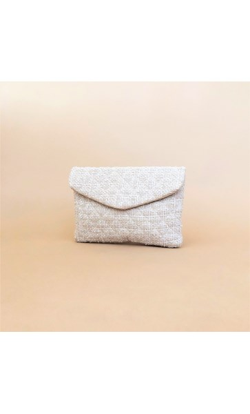 Quilted Boucle Flap Over Clutch