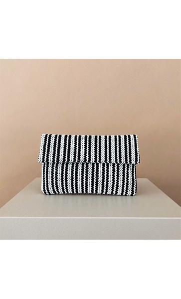 Stripe Weave Flap Over Clutch
