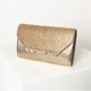 Jewel & Chain Mesh Envelope Clutch