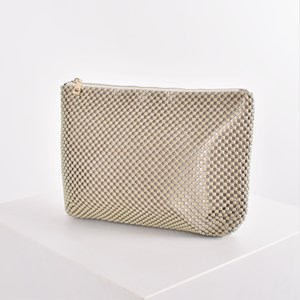 Vintage Resin Ball Mesh Zip Top Clutch