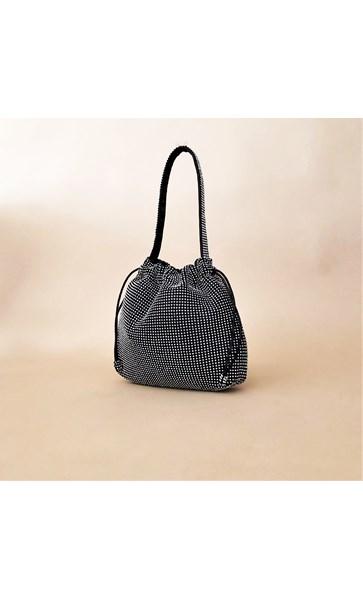 Jewelled Mesh Drawstring Mini Bag