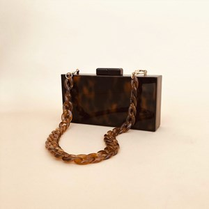 Tortoise Resin & Chain Structured Mini Bag