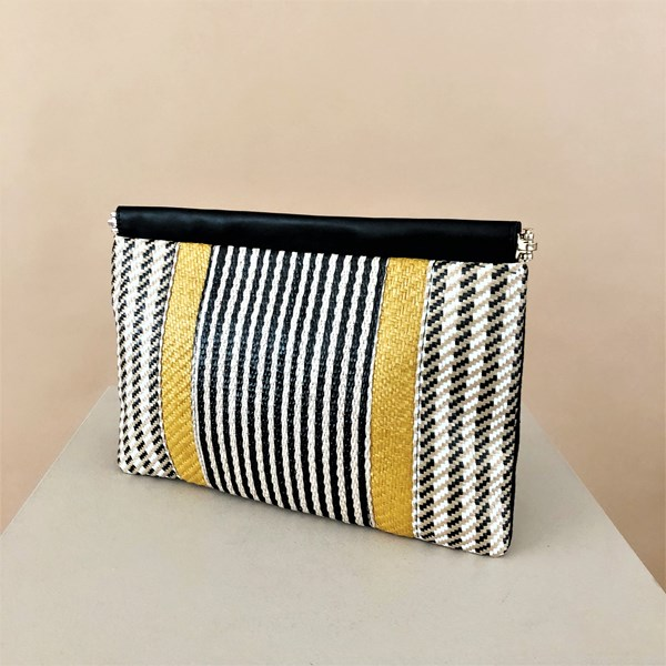 Striped Weave Framed Top Clutch