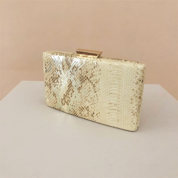 Metallic Reptile Print Structured Clutch