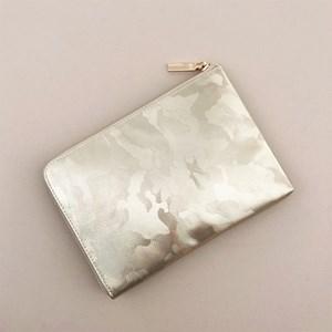 Metallic Camo Zip Around Pouch
