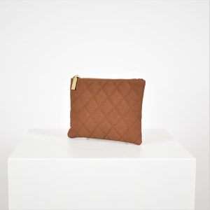 Quilted Vegan Suede Pouch