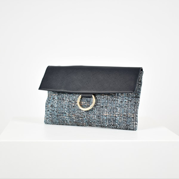Textured Ring Flap Over Weave Clutch