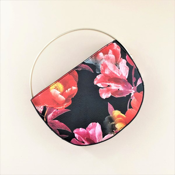 Floral Contrast Half Circle Metal Handle Clutch
