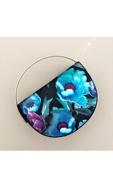 Floral Contrast Half Circle Metal Handle Clutch