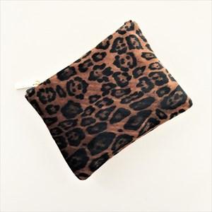 Velvet Leopard Zip Top Pouch