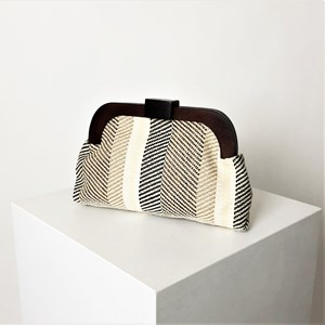 Timber Frame Natural Woven Curved Clutch