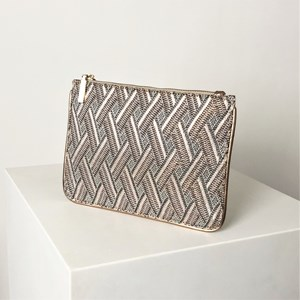 Metallic Thread Woven Zip Top Pouch