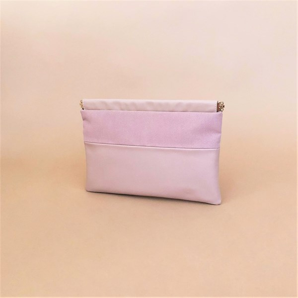 Textured Tri Tone Panelled Framed Top Clutch