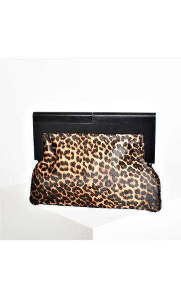 Timber Frame Hide & Vegan Suede Clutch