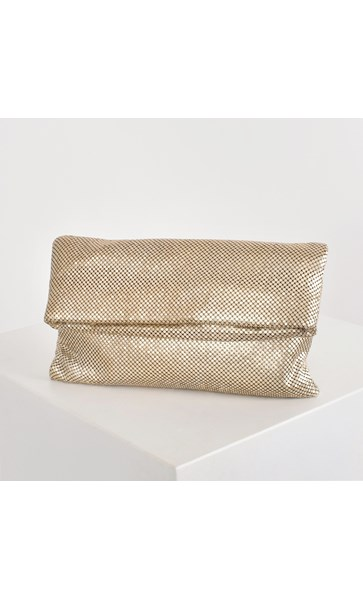 Chain Mesh Fold Over Clutch