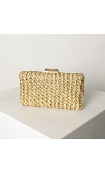 Natural Stripe Weave Structured Clutch