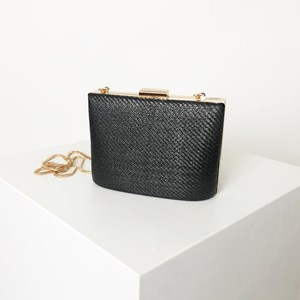 Woven Oval Base Structured Clutch