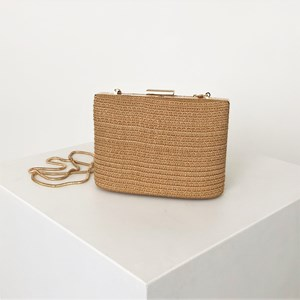 Ladder Weave Oval Base Structured Clutch