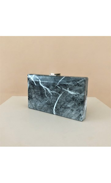 Stone Look Resin Structured Clutch