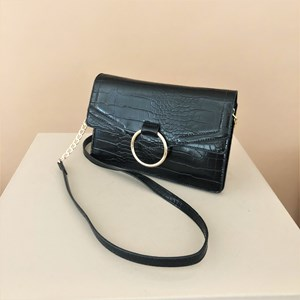 Croc Metal Ring Fold Over Clutch