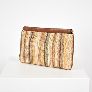 Textured Woven Stripe Trimmed Frame Clutch
