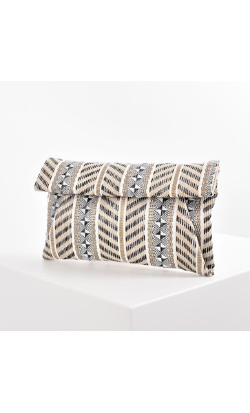 Mixed Stripe Weave Small Fold Over Clutch